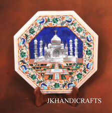 """15"""" White Marble Stunning Table Top precious Shell Inlaid Work Home Decorative"""