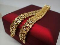 Elegant 14K 9K Yellow Gold Diamond cut Band solid womens mens bracelet 18.5cm