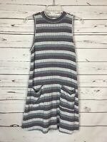 Altar'd State Women's L Large Sleeveless Striped Pocket Sweater Tunic Top Tank