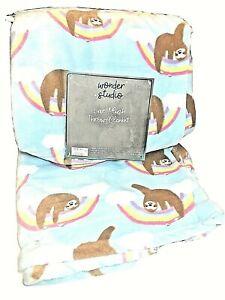 "Sloth Rainbows Blue Brown Plush Throw Blanket 50""x 60"""