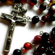 Agate Rosary Necklace CROSS & Tibet Silver Rose Bead CRUCIFIX CATHOLIC