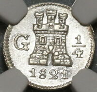 1821 NGC MS 63 Guatemala 1/4 Real Spain Colony Silver Coin (19122204D)