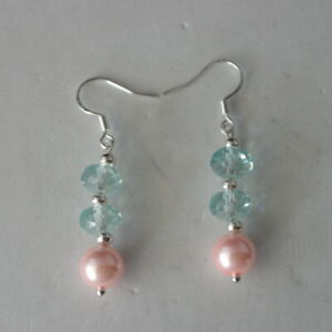 Earrings with Pink Pearls  And Aquamarine 3 Cm. Long + 925 Silver Hooks