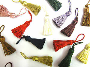 10 Mini craft tassels Small 3.5cm + 2cm loop long decorative Key cushion tassel