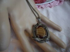 VINTAGE AMBER AGATE GLASS SCOTTISH SILVER MIRACLE PENDANT ON CHAIN NECKLACE