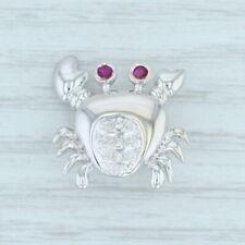 Ruby Diamond Crab Pin Pendant 14k White Gold Nautical Brooch