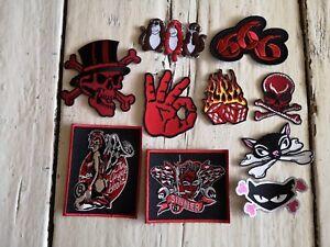 Aufnäher Aufbügler Rockabilly rotes Set mit 10 Stück