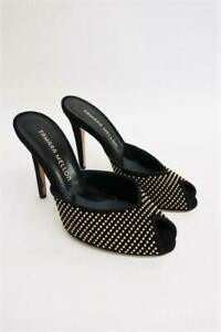 Tamara Mellon Mules Sultry Black Studded Suede Size 36.5 Peep Toe Heel