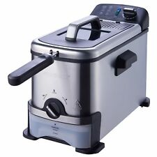 Stainless Steel Deep Fryer 3 Liter with Oil Filtration System Silver Black Color