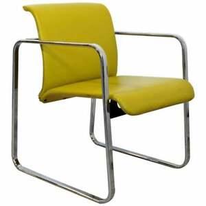 Mid Century Modern Peter Protzman Herman Miller Yellow Leather & Chrome Chair