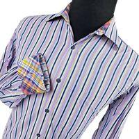 Bugatchi Uomo Striped Flip Cuff Long Sleeve Casual Button Shirt Mens Medium M