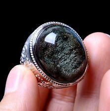 Rare Natural Green Ghost Crystal Healing Wealth Men Ring 22*8*12mm