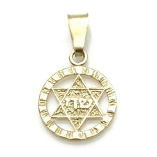 Vintage 14k Shadai Jewish Star of David Pendant yellow gold Encircled Estate