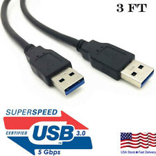USB 3.0 Cable Male to Male USB to USB Cable SuperSpeed Black 3 Feet