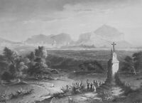 ITALY Sicily Distant View of Palermo - 1880s Antique Print Engraving