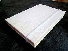 Notebook Blank Journal White faux leather Handmade Blank 100 pages