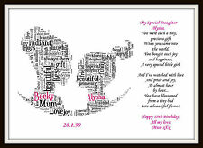 16th 18th 21st 30 Daughter Mum Birthday Day Personalised Word Art Gift Keepsake