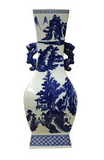 Chinese Blue White Porcelain Oriental Scenery Graphic Vase cs2448