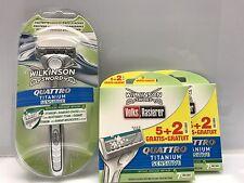 15x Wilkinson Sword Quattro Titanium Sensitive Rasierklingen + Rasierer NEU
