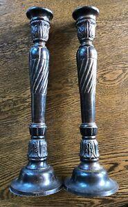 """Bundle Set - Antique Bronzed Cast Iron Candlesticks &  Brass Snuffer 14-3/4""""Tall"""