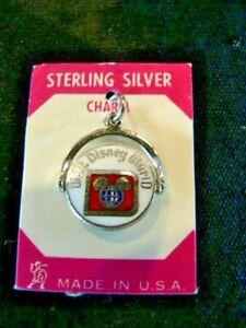 Vintage Walt Disney World Sterling Silver Enamel Spinner Charm New On Package
