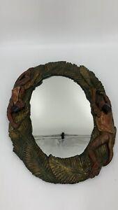 "15"" Vintage Jungle themed Oval resin framed wall mirror monkey Banana Leaf"