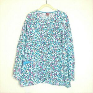 Dickies Womens Scrubs Jacket Large Blue Pink Floral Snaps Cotton