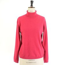 Women's Pink 100% PURE CASHMERE ISLE Roll Polo Neck Sweater Jumper UK M