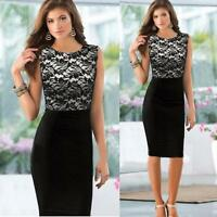 Women Sexy Slim Lace Floral Sleeveless Bodycon Cocktail Party Pencil Mini Dress