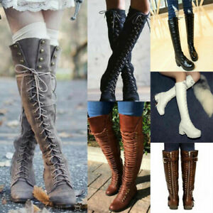 Women Lace Up Knee High Rivet Boots Motorcycle Combat Riding Shoes Plus Size NEW