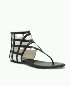 New!  MICHAEL KORS  Jaida Black Silver Leather Sandal Size 6M