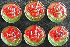 6 Czech UNIQUE Crystal Glass Buttons #D828 - RARE ROSES!!!!!
