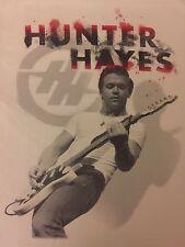 HUNTER HAYES Concert T-Shirt Medium White 100% Cotton EUC FREE SHIP B15