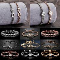 Fashion CZ Zircon Crystal Bracelet Women Chain Rhinestone Bangle Wedding Jewelry