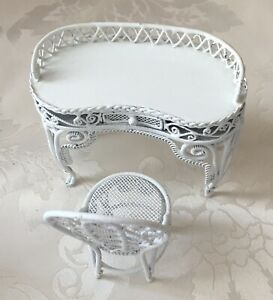 Vintage Dollhouse Miniatures Furniture White Metal Wicker Vanity With Chair