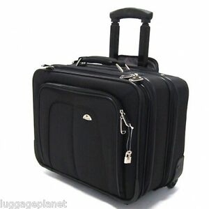 """Samsonite Business One Mobile Office Wheeled 17"""" Laptop Briefcase Carry On Black"""