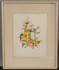 Signed CLEO LAMBRIDES Mid-Century Modernist Abstract Pencil Drawing Indian Dance