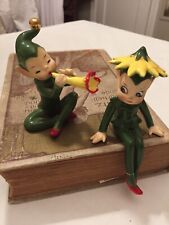 Two Josef Original Pixie Elf Figures Playing Flower Horn And Flower Hat Precious