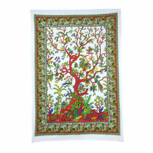 White Tree of Life Wall Hanging Poster Tapestry BOHO HIPPY ART HOME DECORATION
