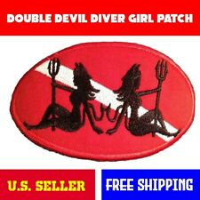 "Double Devil Diver Down Oval Patch - 4""x2.5""  Iron On Women Trident Scuba Gift"