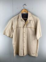 Rivers Men's Short Sleeved Snap Button Up Slim Fit Shirt Size L Brown