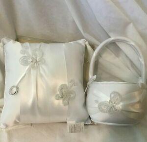 Beautiful Ivory Satin Bowknot Ring Bearer Pillow and Wedding Flower Girl Basket