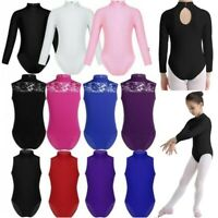 Kids Girls Turtle Neck Ballet Dance Leotard Long Sleeve Gymnastics Dancewear