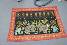 "Ethnic India Decor Cotton Elephant Embroidered Tapestry Suzani Textile 52"" x 35"""