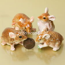 4 BROWN MOUSE RAT MICE CERAMIC STATUE POTTERY MINIATURE ANIMAL FIGURINE