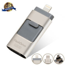 256G 3 in 1 OTG Memory Stick USB flash Drive UDisk For Android/IOS iPhone Silver