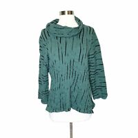 Habitat Green Black Wavy Textured Top M Medium Fitted 3/4 Sleeves Blouse Boho