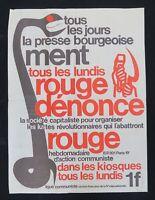 Affiche LA PRESSE BOURGEOISE MENT ROUGE DENONCE Ligue Communiste Krivine 1968