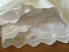 """5 YDS LOT~1990s Broderie Anglaise 'Scalloped' Trim~8&1/2""""=22CM~Poly Cotton~White"""