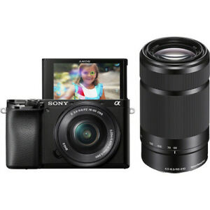 SONY ILCE6100YB Alpha A6100 Mirrorless Camera with 16-50mm and 55-210mm Zoom Len